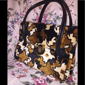 Handbags - Plush Velour Bag W Jagged Houndstooth Design